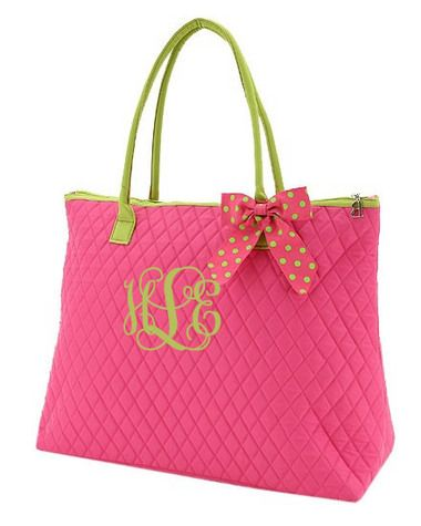 Hot Pink Quilted Tote with Hot Pink & Lime Green Polka Dot Bow   tinytulip.com - Personalized Gifts at Great Prices - Personalized