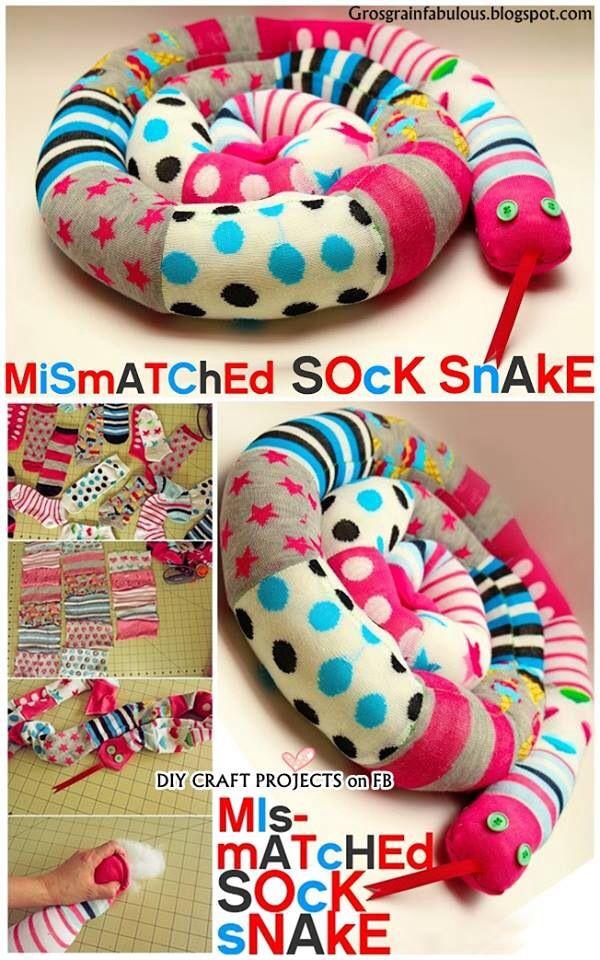 DIY Mismatched socks snake