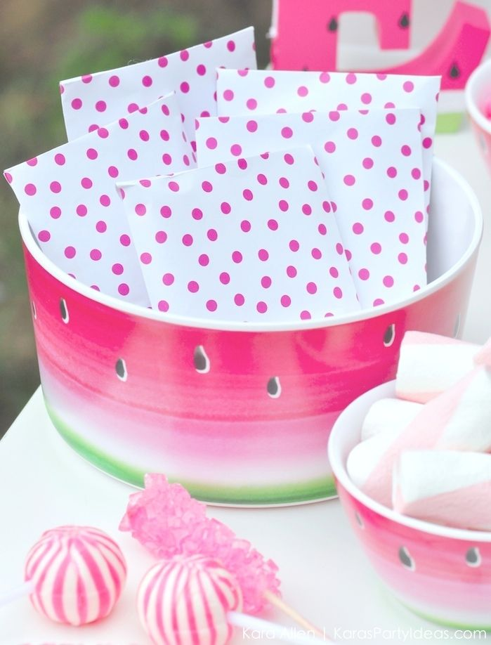 Watermelon themed DIY birthday party by Kara's Party Ideas | Kara Allen | KarasPartyIdeas.com #MichaelsMakers You're one in a melon!_-12