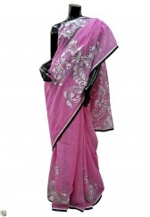 Pink taant with traditional alpona design highlighted with kantha work