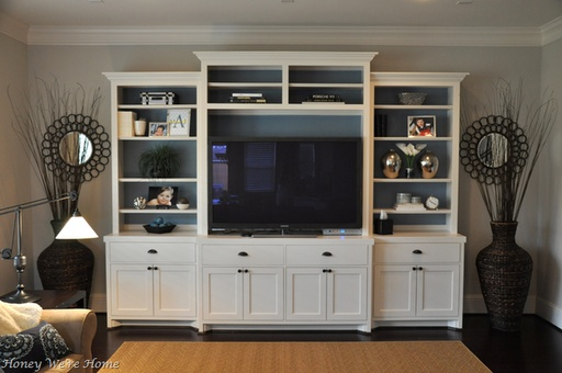 1000 images about faux built ins on pinterest cozy for Media room built in cabinets