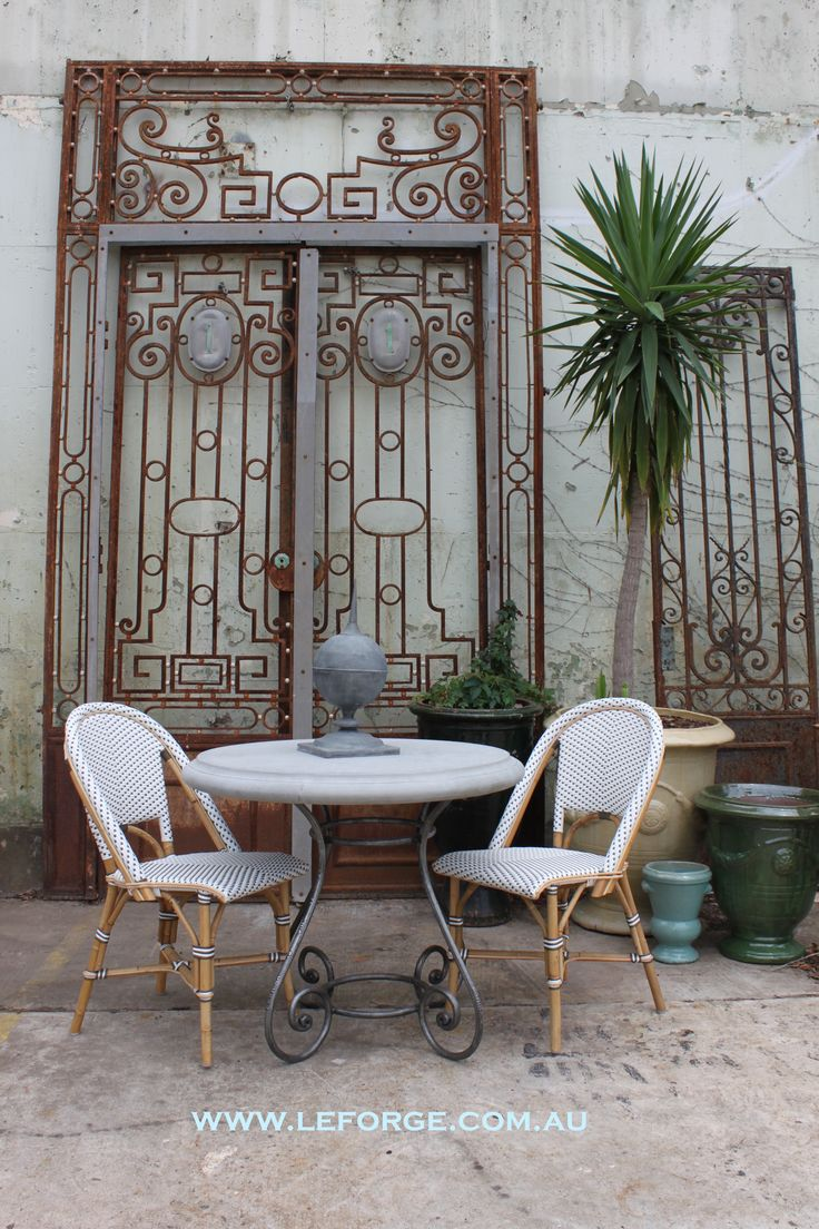 Vintage French Entry Gates, Cane Chairs, Le Forge Anduze Urns And Le Forge  Barneyu0027s