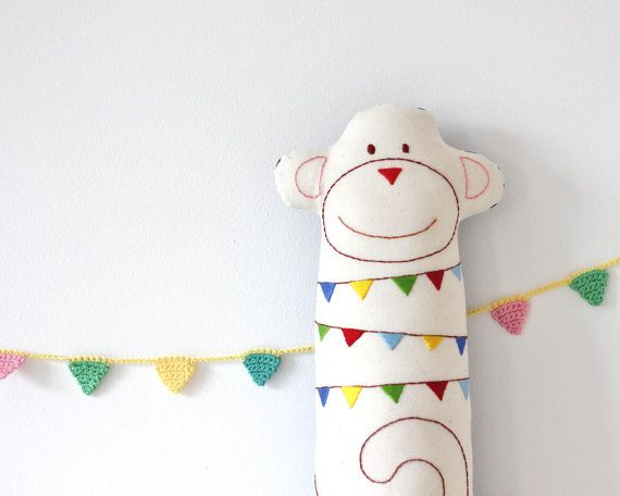Stuffed Toy Monkey Plush Fabric Animal Bunting Embroidery on Etsy, $49.73