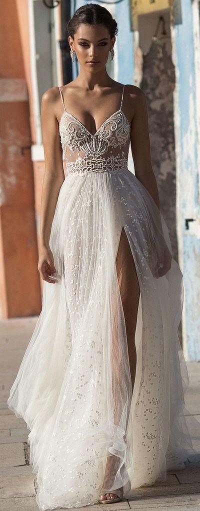 2019 Beach Wedding Dresses Side Split Spaghetti Illusion Sexy Boho Wedding Gowns Sweep Train Pearls Backless Bohemian Bride
