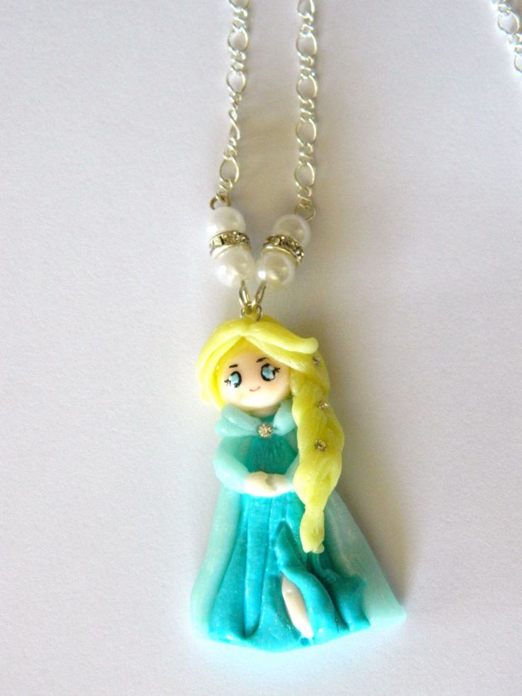 Elsa Frozen necklace kawaii.-Necklace Elsa frozen in fimo, polymer clay. by EVAMARE on Etsy