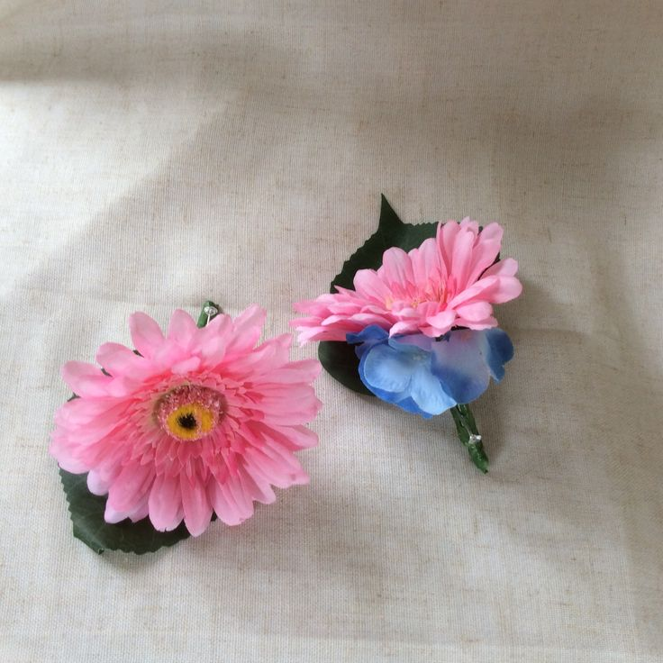 Pink gerbera and hydrangea button holes by Cathey's flowers