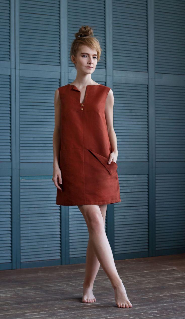 One-sided linen dress / Купить Короткое летнее платье с карманами / Платье кирпичного цвета - короткое летнее платье