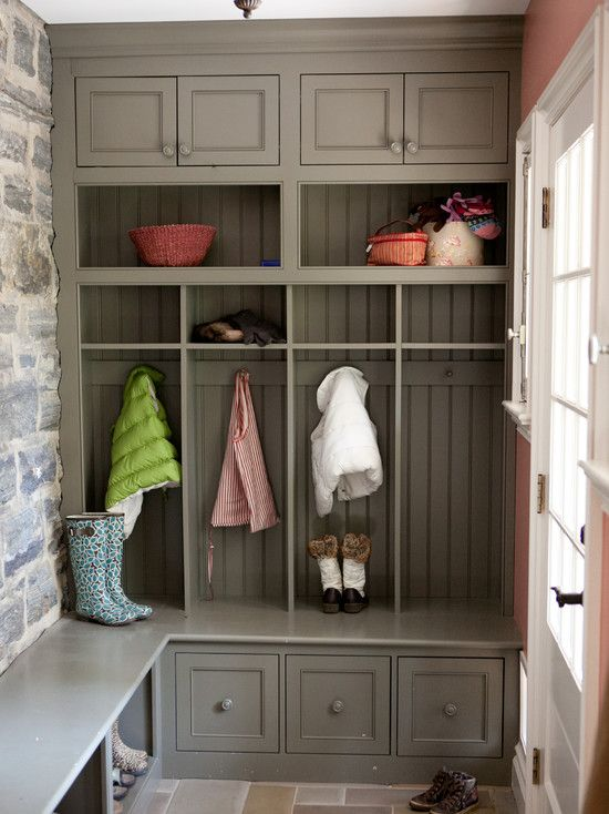 Greige locker-style mudroom