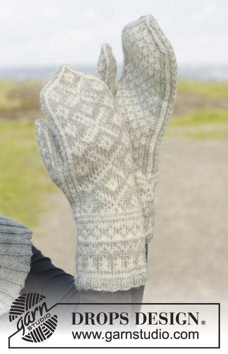 """Knitted DROPS mittens with Norwegian pattern in """"Karisma"""". ~ DROPS Design  I really like the Drops mitten patterns.  I've made quite a few of them and the patterns are well written and they make nice warm mittens for cold Alaskan winters.  :)"""