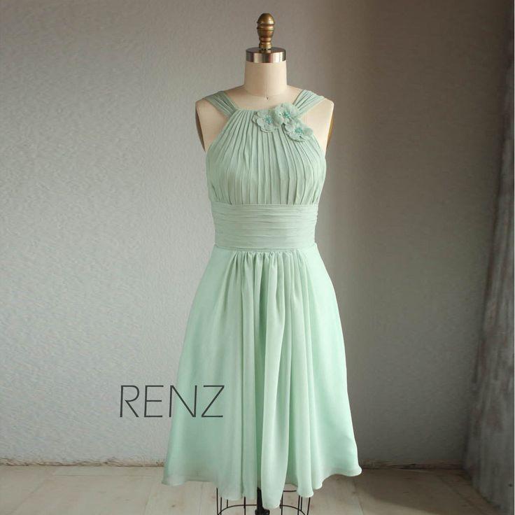 Wedding dress  HALTER chiffon party dress bridesmaid by RenzRags, $98.00