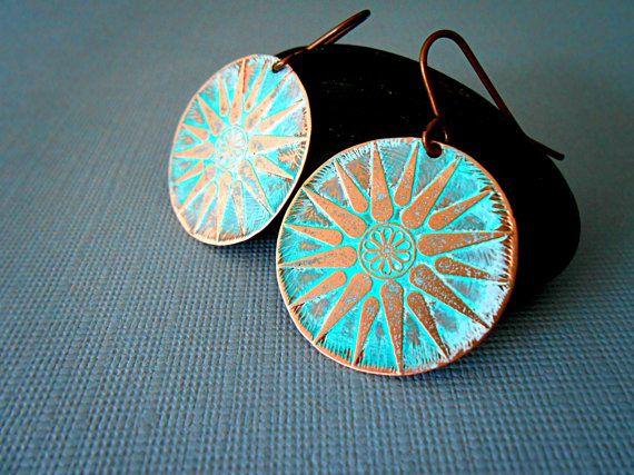 Rustic mint-green copper earrings, etched copper earrings, turquoise patina, handmade jewelry