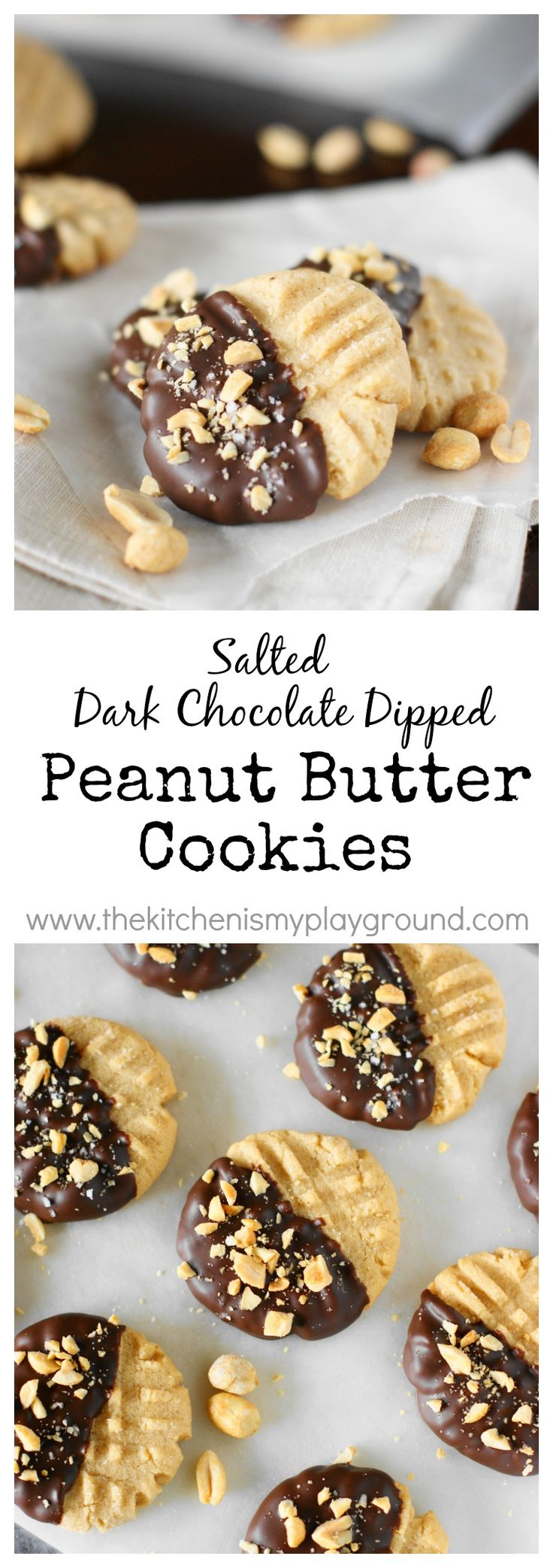 Salted Dark Chocolate Dipped Peanut Butter Cookies ~ give those cookies a fun & elegant flair with a dunk in chocolate.   www.thekitchenismyplayground.com