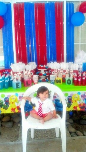 Birthday kid in front of decorated elmo table