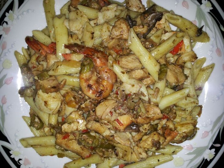 Jerk Shrimp and chicken RASTA PASTA