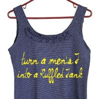 Men's T-shirt to Ruffle Tank Top tutorial.