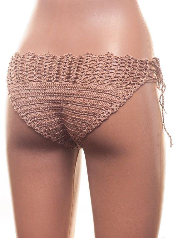 Crochet Bikini Bottom, BEIGE Cheeky Bikini Bottoms.  100% handmade - Summer accessories for women.  I only use high quality materials and manual