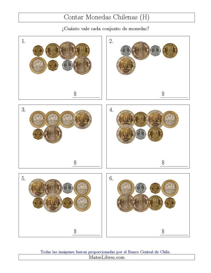 La hoja de ejercicios de matemáticas de Contar Colecciones de Monedas Chilenas (H) de la página Hojas de Ejercicios de Dinero en MatesLibres.com.