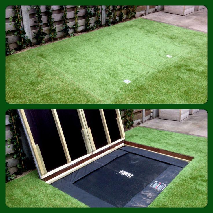 trampoline met kunstgras  speciaal voor kleine tuinen