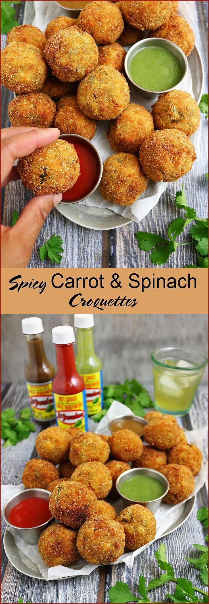 Spicy Carrot Spinach Croquettes with El Yucateco®️️ Red Chile Habanero and El Yucateco®️️ XXX Hot Kutbil-ik - perfect appetizers for fall gatherings! #ad #FieldToBottle #KingofFlavor