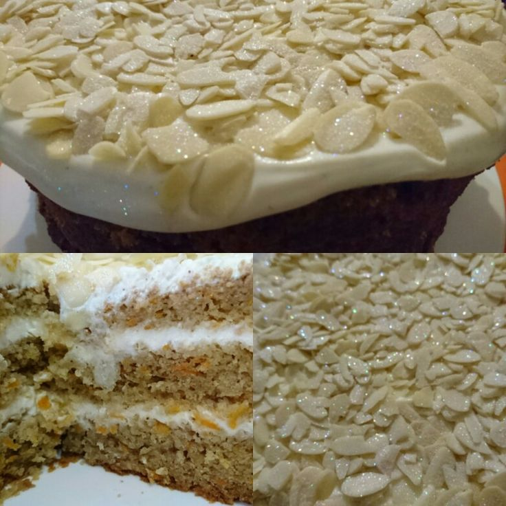 3 Tier Carrot Cake with cream cheese icing and almonds