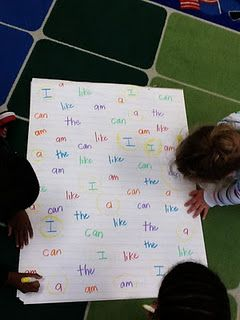 Small Group activity - cover chart paper with sight words repeated several times each. Give each student a different colored crayon and have them locate a word-read it to you- then they can circle it. Good for older kids as pre-reading activity.               Seems good for my new year 1's for guided reading introduction for those who need the sight words reinforcing.