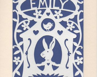Baby Name Art Personalised Papercut Handcut by GeraldHawksley