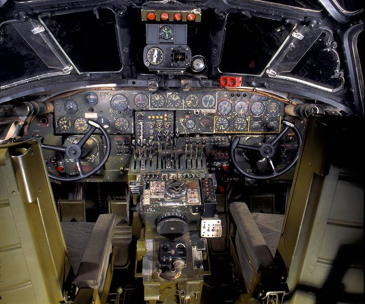Cockpit view of the B25 Doolittle Raid Mitchell Bomber USAF MUSEUM