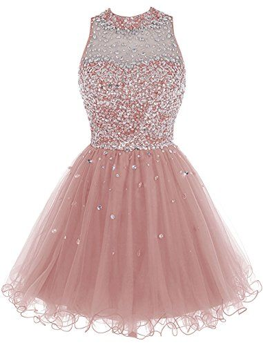 Bbonlinedress Short Tulle Beading Homecoming Dress Prom Gown Blush 10 ** Click image for more details.