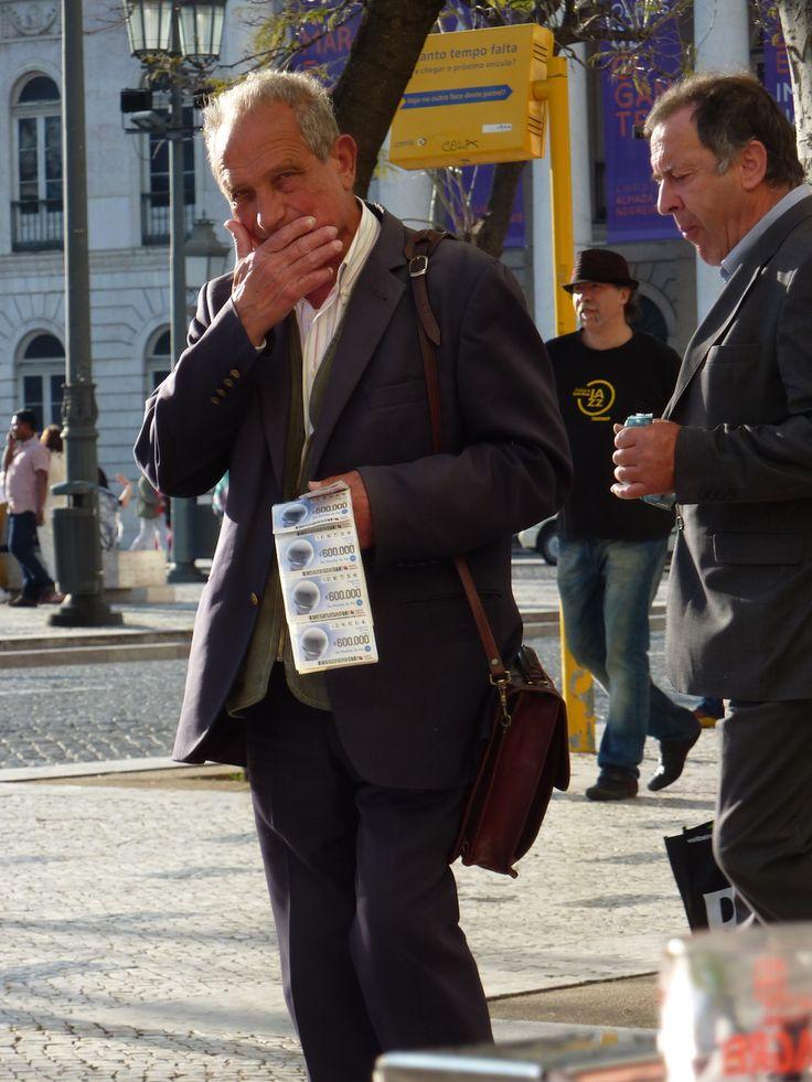 lottery ticket man in Lisbon