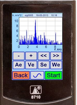 Vibration analyzer screen in the Vibration Acceleration Signal Spectrum Mode. Spectral characteristics of vibration signals.