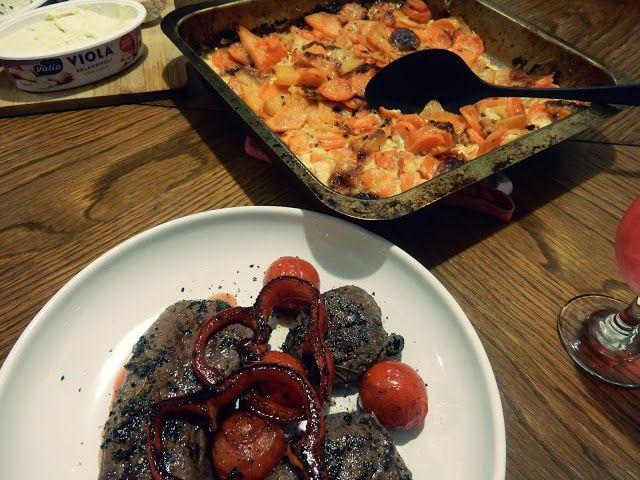 VillaNanna: Juustoinen juuresvuoka ja herkullinen maustetahna porolle
