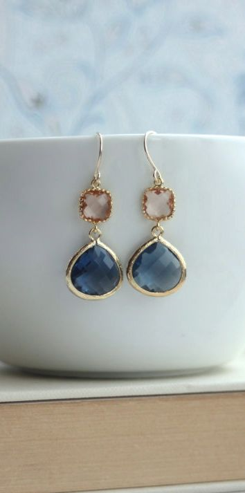 Champagne Peach, Dark Sapphire Blue Glass Framed Jewel French Drop Earrings. Bridesmaid Gifts by Marolsha.