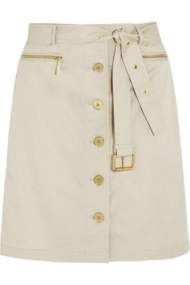 Beige stretch-cotton Belt loops, waist tie, zipped pockets Button fastenings through front 98% cotton, 2% spandex Machine wash or dry clean Designer color: Sand