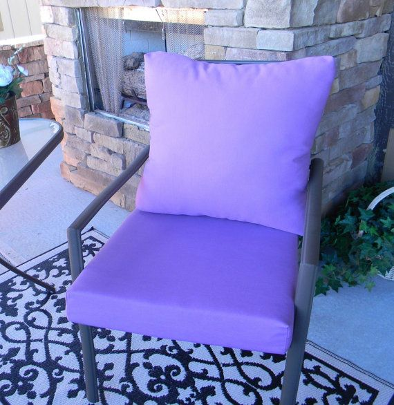 Outdoor Solid Lavender Purple Foam Cushion U0026 Back Pillow Set For Patio  Dining   Choose Size