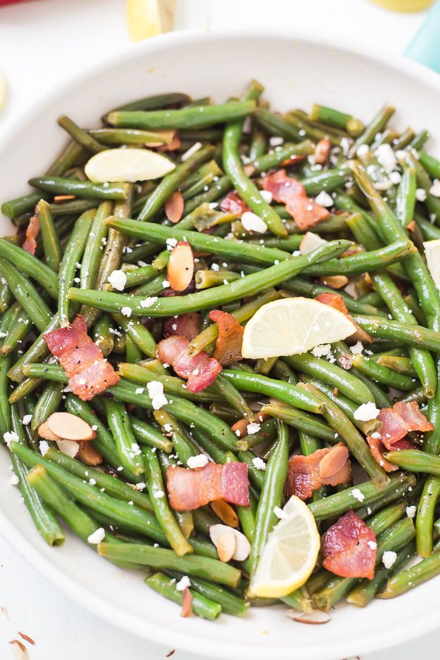 Green Beans with Toasted Almonds Bacon & Feta - Fresh green beans ...