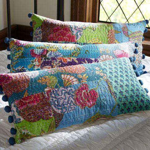 Kantha Cloth Lumbar Pillow Cover, Cool | PBteen