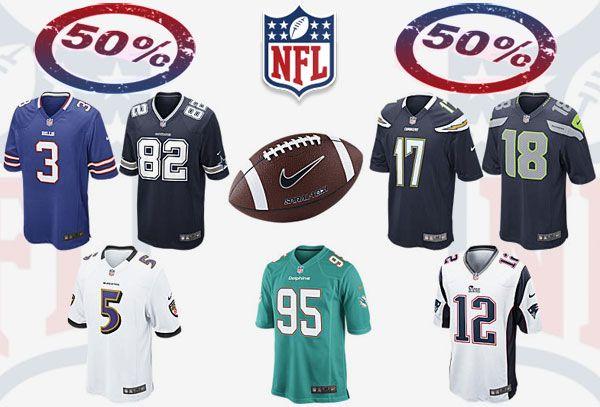Code promo special NFL ! Nike propose, du 12 Mars au 02 Avril 2015, 50% de réduction sur une sélection de produits NFL, des Ballons, Maillots de NFL, etc..