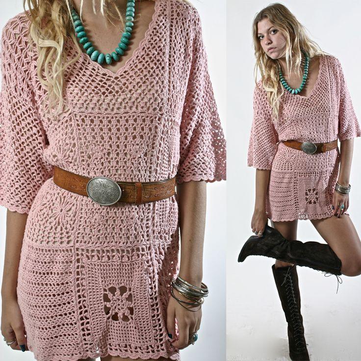 Crochet Scalloped Mini Dress