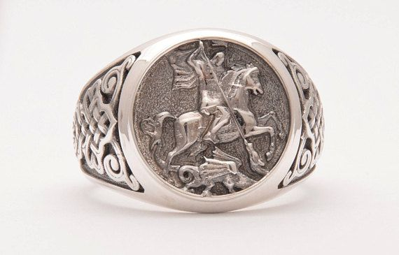 Silver 925 Signet Ring, Man Signet Ring, Knight Ring, Saint George Ring, Sterling Silver.  ALL RING SIZES AVAILABLE! Sovereign Ring, Medieval Ring, Silver Dragon Ring, Signet Ring  DANELIAN JEWELRY! GOLDSMITH WORKSHOP MADE
