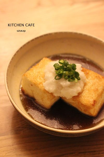 "Deep fried tofu with ""I don't know what it is"" sauce Japanese food / 揚げだし豆腐山芋のせ"