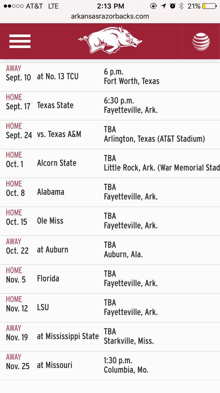 Arkansas Razorbacks football schedule