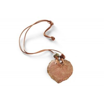 We all love hazel nuts; their distinctive shape, almost round. Double glaze firing produced a subtle glaze; the leaf hangs on a stark, brown leather strap with ceramic beads. All elements have been originally designed which is a guarantee of their uniqueness. Goes well with the eco-style.