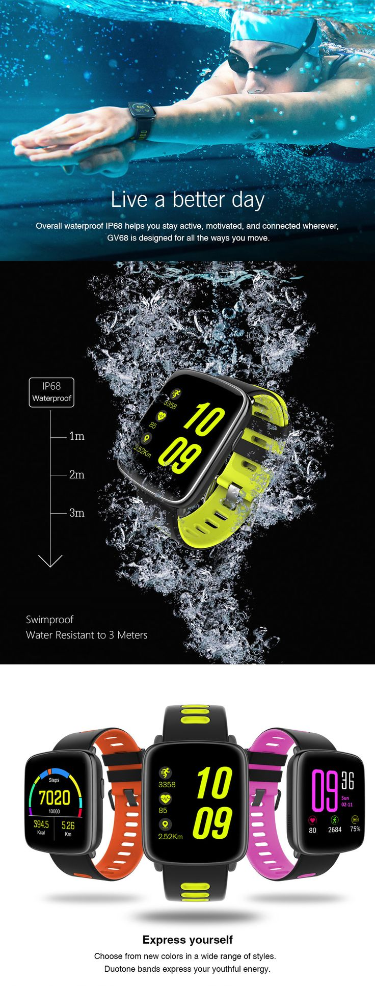 #watch #fashion #fashionstyle #waterproofwatch $49.99 for GV68 IP68 Waterproof Smart Watch Heart Rate Monitor Support Bluetooth.A good watch you deserve,buy it now!