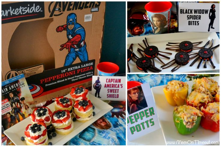 Calling All Avengers! Black Widow Spider Bites, Pepper Potts, Captain America's Sweet Shields, Hawkeye's Wings and MORE! #Avengers #party #MarvelAvengersWMT