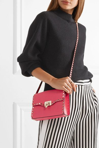 89acb6fa6e8a Valentino - Rockstud Textured-leather Shoulder Bag - Bright pink ...