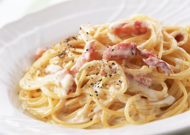An authentic Roman spaghetti carbonara has no cream, but is simply pasta, pancetta, egg and Parmesan.