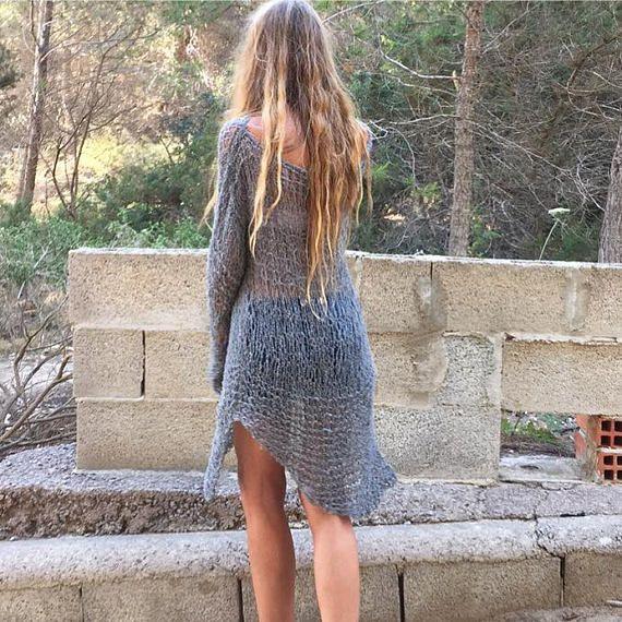 Gray+sweater+boho+Asymmetrical+sweater+Sweater+dress