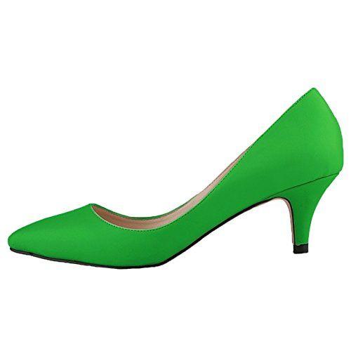 HooH Damen Matte Rutsch Süßigkeit Farben Büro-Dame Mary Jane Arbeit Pumps-Grün-40 - http://on-line-kaufen.de/hooh/40-eu-hooh-damen-matte-rutsch-suessigkeit-farben-2