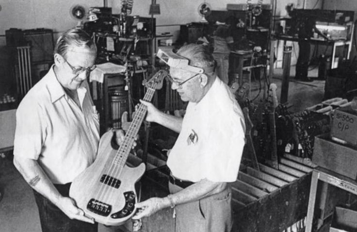 George Fullerton and Leo Fender (the original G and L of G&L) proudly holding an early L-1000.