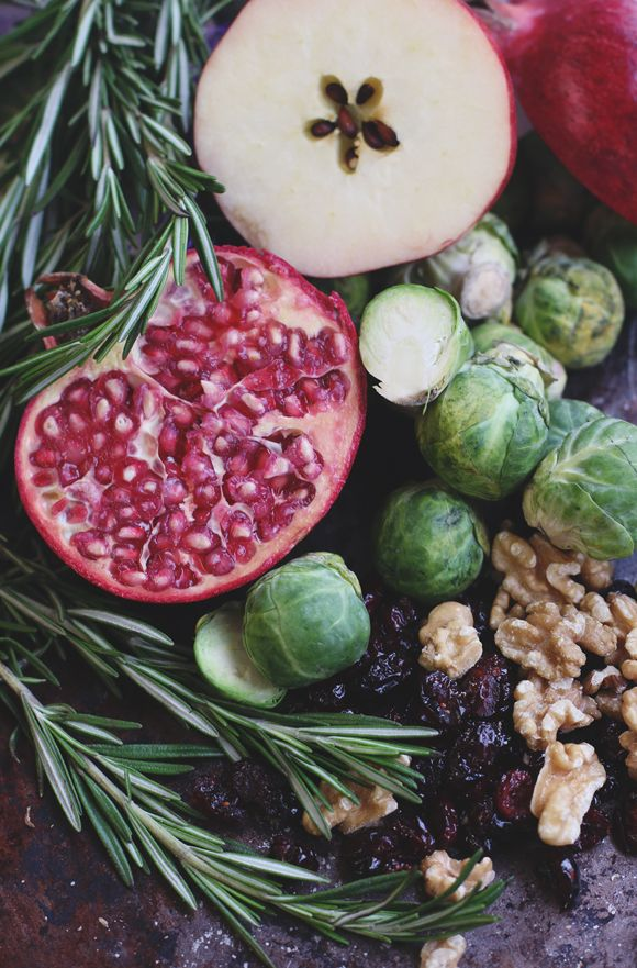 Brussels Sprout Salad With Apples & Pomegranate | Apple walnut salad ...